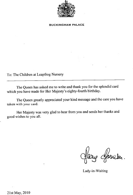 News Story For Busy Bees At Chippenham Bath Road Nursery - Childrens birthday cards for the queen