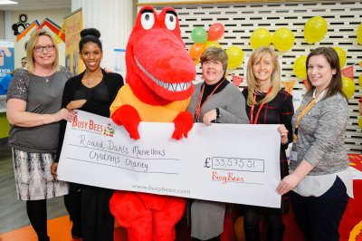 Cheque for Roald Dahl Charity