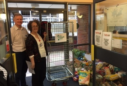 David and Maureen collecting for the Trussell Trust