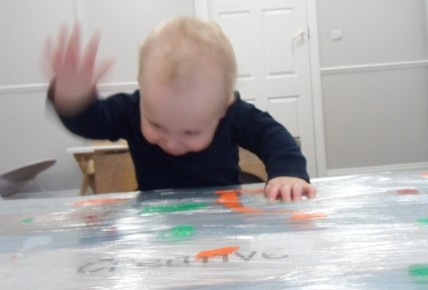 Francis exploring the paint.