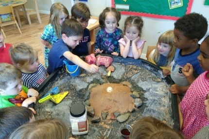 Pre-school making their volcano.