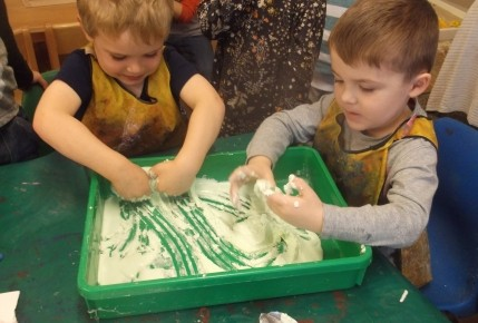 Exploring texture- Making foam with the pre school Photo-1