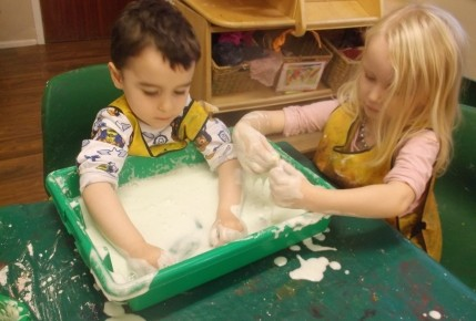 Exploring texture- Making foam with the pre school Photo-2