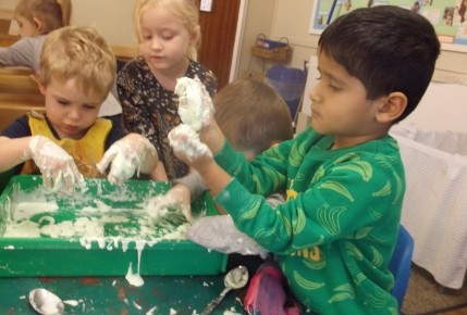 Exploring texture- Making foam with the pre school Photo-3