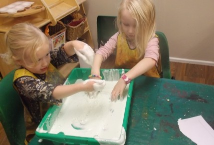 Exploring texture- Making foam with the pre school Photo-4