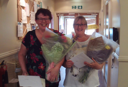 Chrissie & Paula with their flowers from all Huntingdon Busy Bees staff