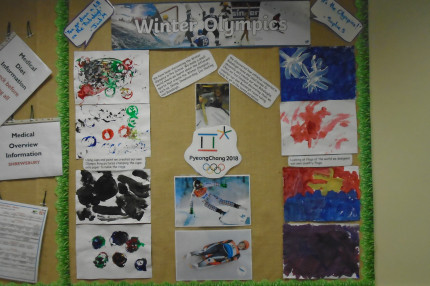 Pre-School 2's display board of the Winter Olympics 2018
