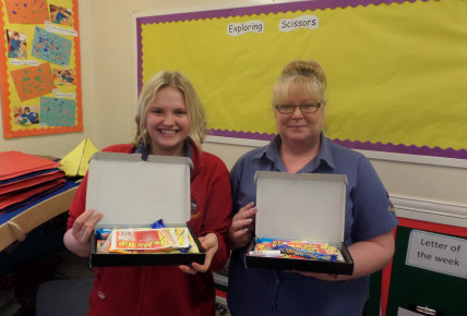 Jody and Megan loved their retro sweets. Naomi,Shannon and Jess also loved their prize