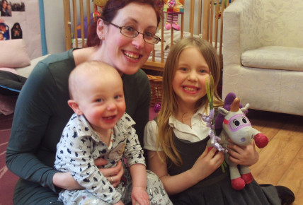 Arran and his Mummy and Sister at the Tea Party.