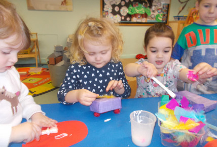 Preschool junk modeling to create gifts for the Queens birthday board.
