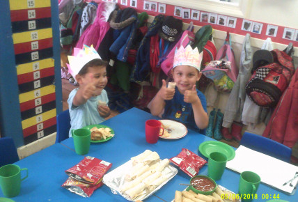A big thumbs up for the delicious tea party for the Queens 92nd Birthday! Crowns & Tiaras all round!